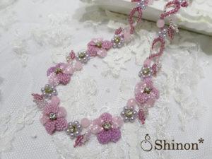 Shinon* すみれのネックレス(ピンク)