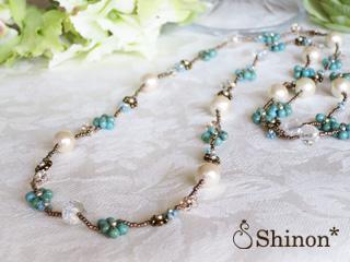 Shinon* プチフラワーロングネックレス(ブルー)