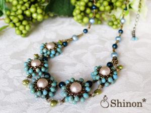 Shinon* フルラージュネックレス(ブルー)