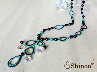 Shinon* 雨のしずくネックレス(ブルー)
