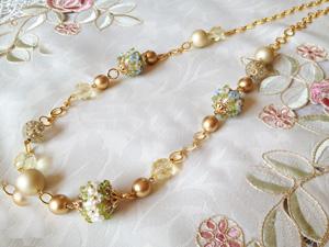 Shinon* あわいしのぶ Floret Long Necklace ~ブルー~