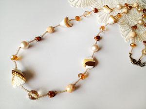 Shinon* あわいしのぶ Sweet Garden Long Necklace (ブラウン)
